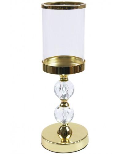 Świecznik kryształowy w kolorze złotym, 2 kule