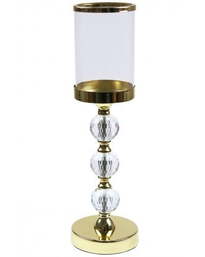 Świecznik 3 kule, złoty - 42cm