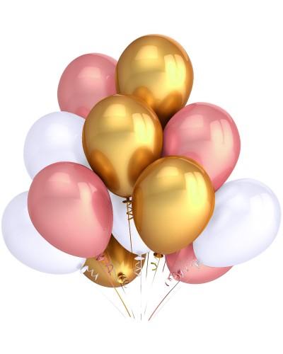 """Balony metaliczne 12"""" białe-gold-rose-złote"""