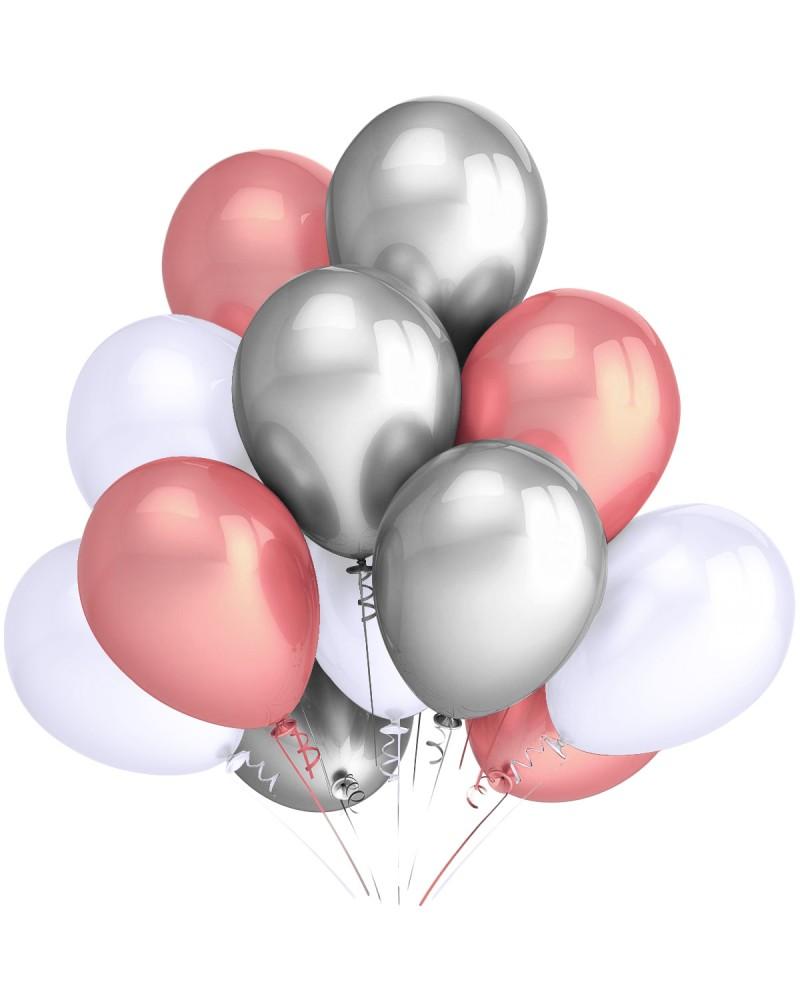 "Balony metaliczne 12"" białe-gold-rose-srebrne"