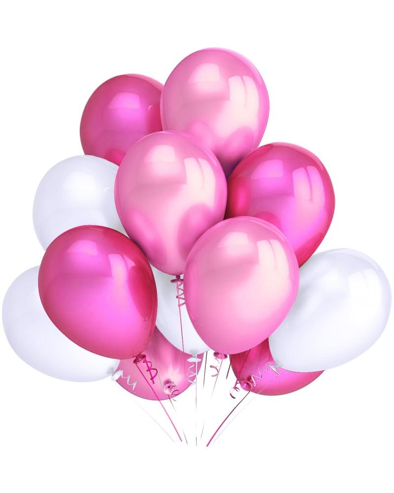 """Balony metaliczne 12"""" białe-jasnoróżowe-różowe"""