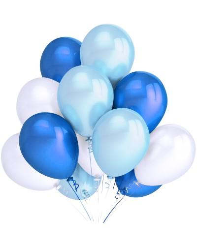 """Balony metaliczne 12"""" białe-błękitne-niebieskie"""