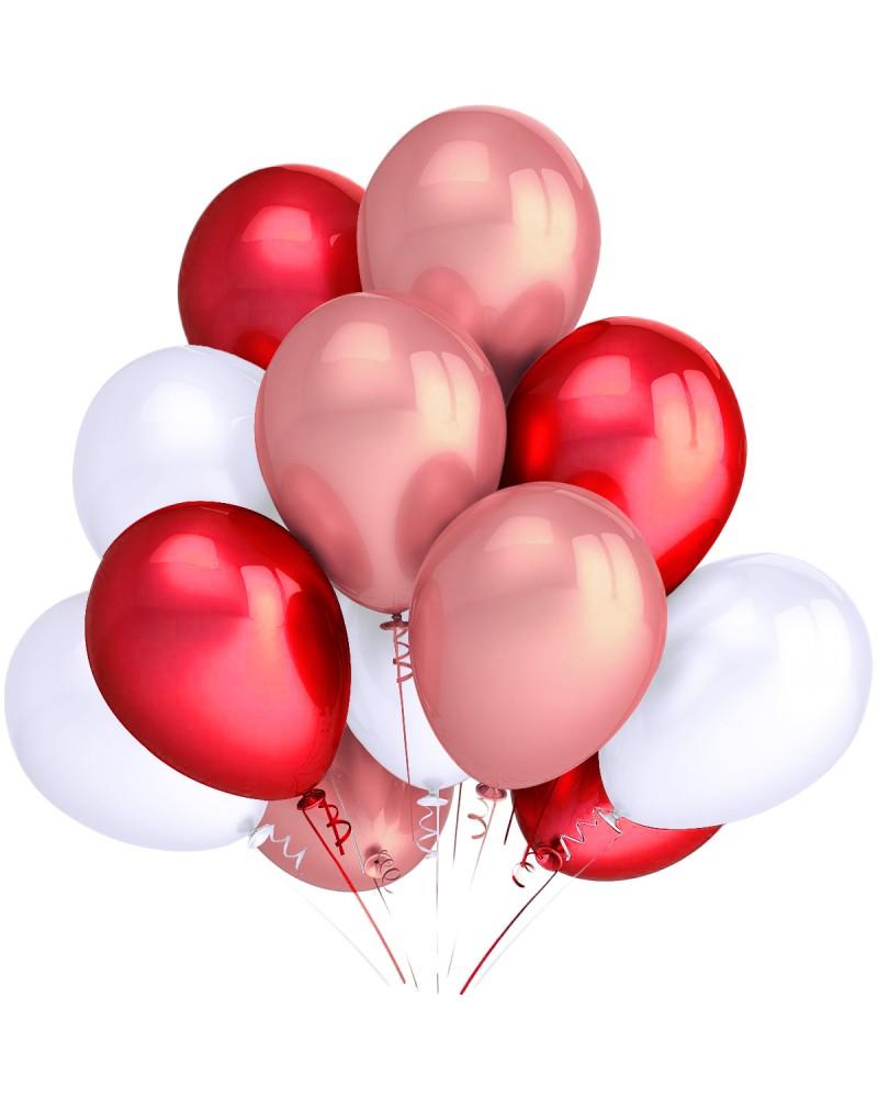 """Balony metaliczne 12"""" białe-czerwone-rose-gold"""