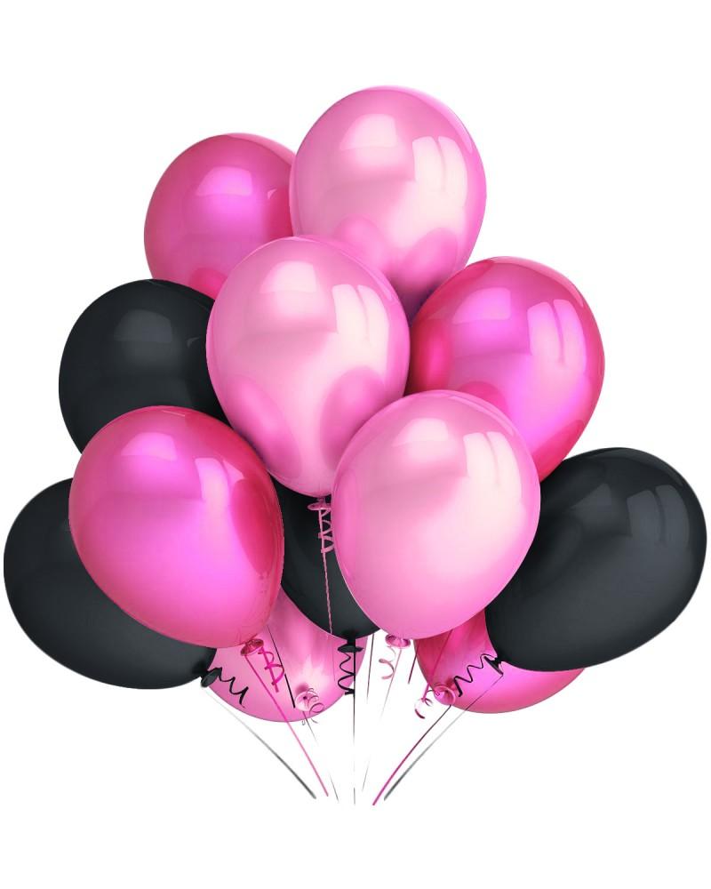 """Balony metaliczne 12"""" czarne-różowe-jasnoróżowe"""