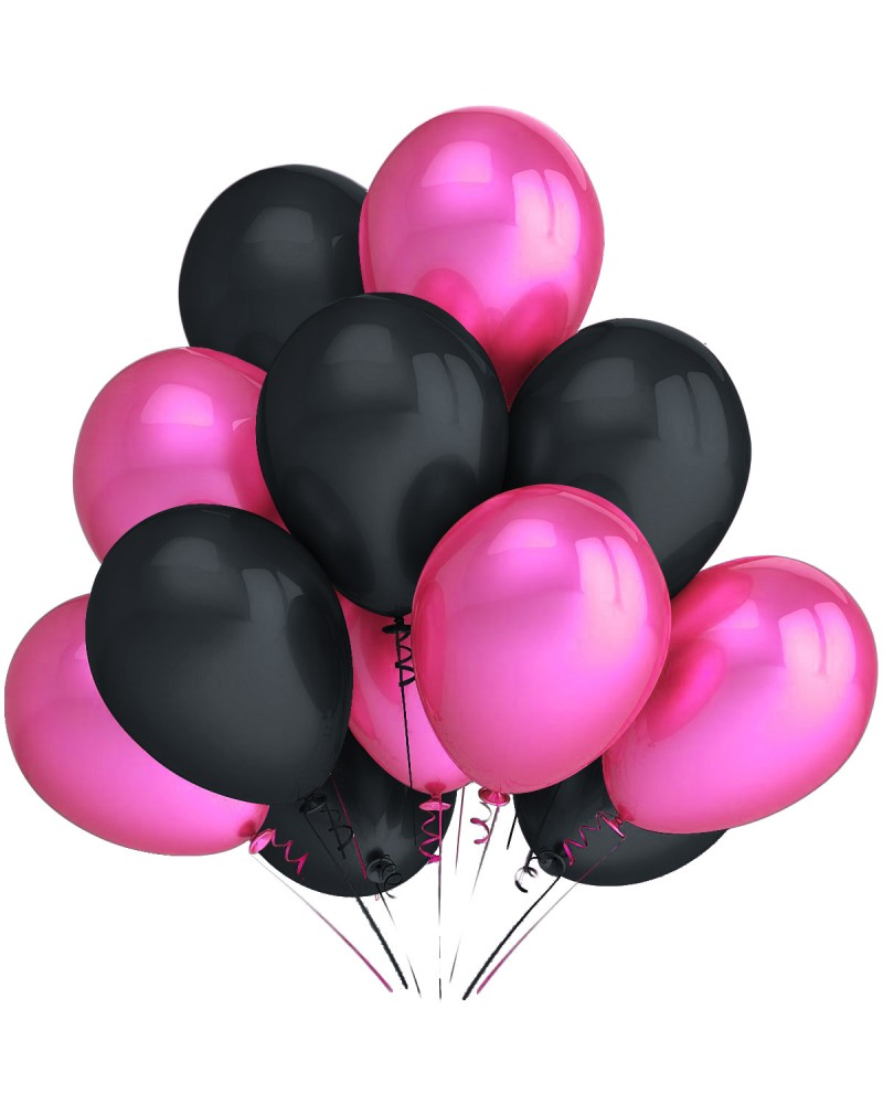 """Balony metaliczne 12"""" różowe-czarne"""