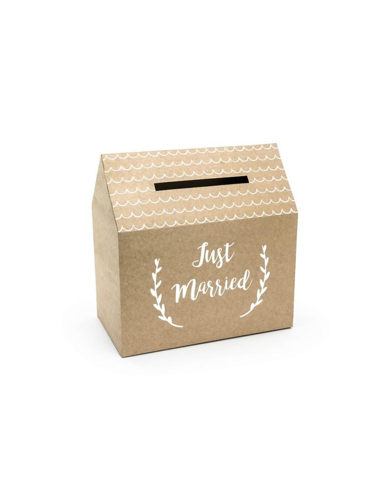 Pudełko na koperty Just Married, kraft, 30x30,5x16,5cm