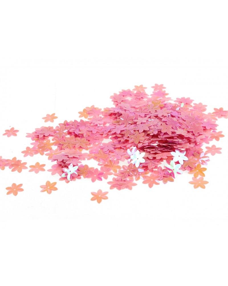 Cekiny w kształcie kwiatków różowe, drobne