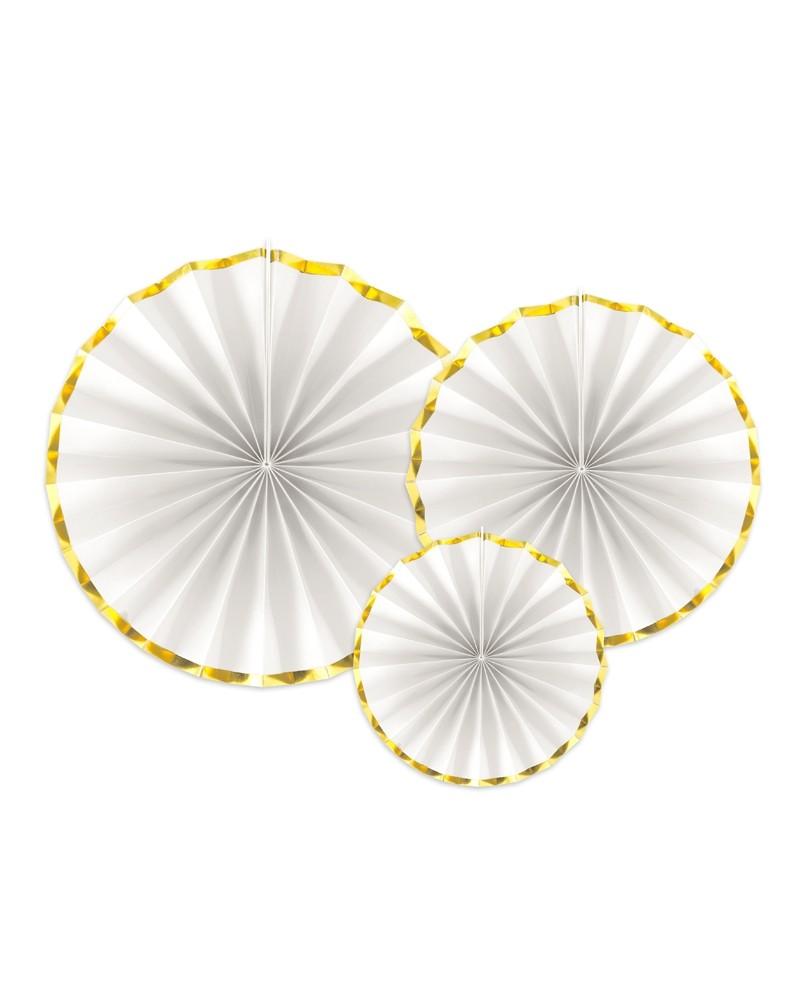 Rozety dekoracyjne, białe złote brzegi