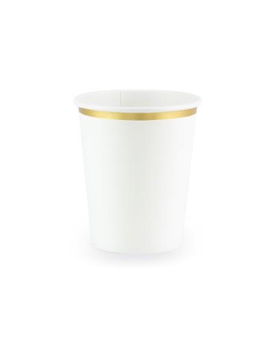 Kubeczki papierowe białe, złote brzegi