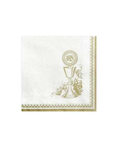 Serwetki papierowe, złote IHS, kielich