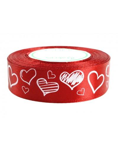 Wstążka tasiemka satynowa w serca 25 mm czerwona