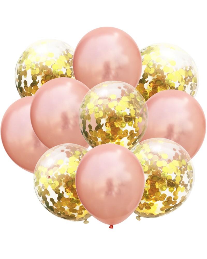 Zestaw na Urodziny Balony Rose Gold i Złote Konfetti