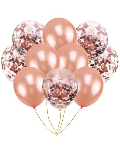 Zestaw na Urodziny Balony Rose Gold, Konfetti