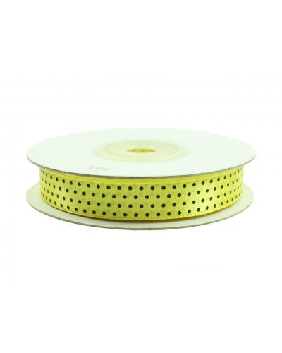 Wstążka tasiemka satynowa w kropki czarne 12 mm żółta