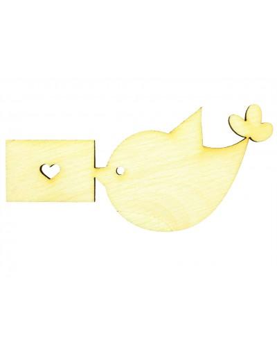 Ptaszek z zaproszeniem, drewniana sklejka do decoupage