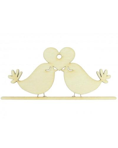 Ptaszki z sercem, drewniana sklejka do decoupage