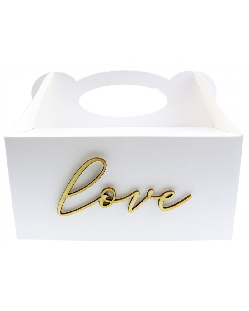 Pudełko na ciasto, Drewniany napis Love