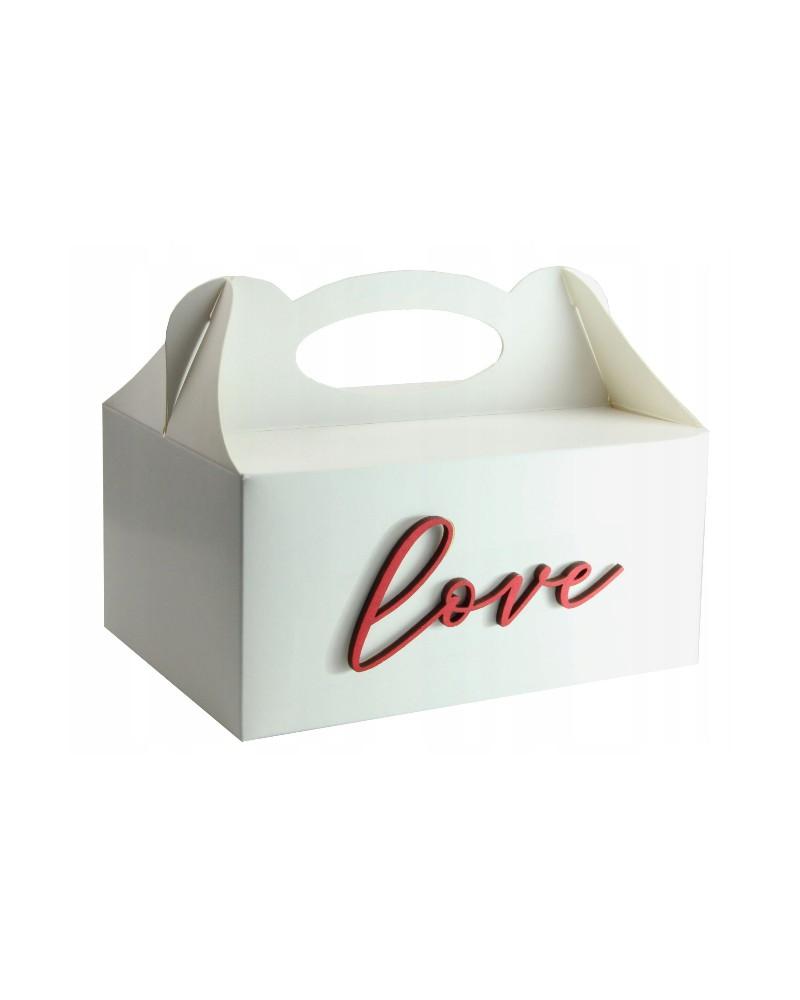 Pudełko na ciasto, Drewniany napis Love Czerwony
