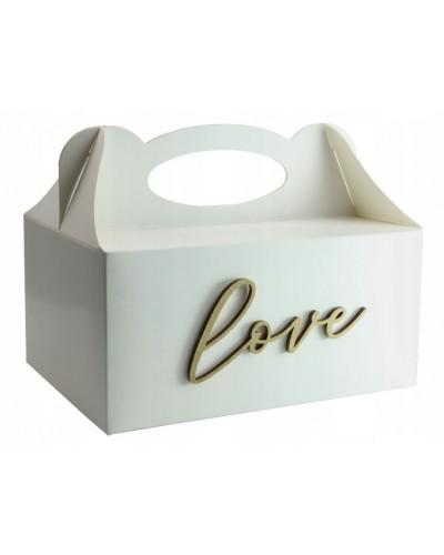Pudełko na ciasto, Drewniany napis Love Złoty
