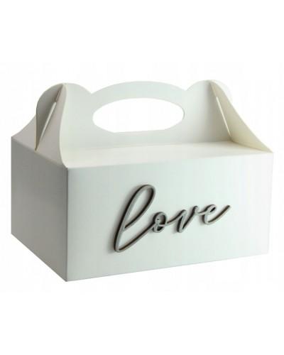 Pudełko na ciasto, Drewniany napis Love Srebrny