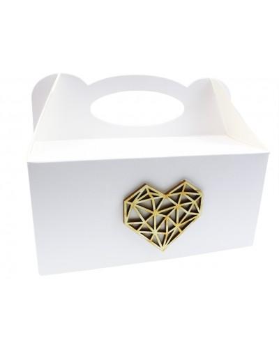 Pudełko na ciasto, Drewniane Serce PolygonArt