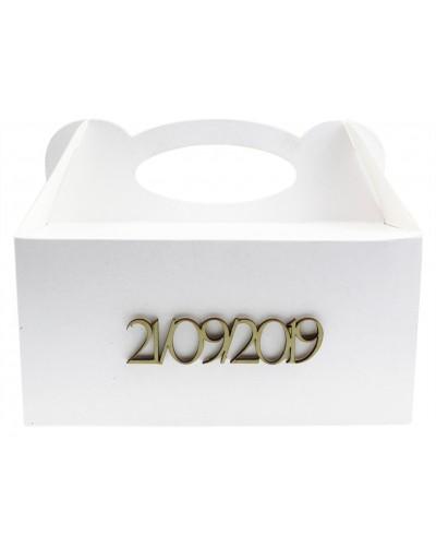 Pudełko na ciasto, Drewniana Data - Twój Napis