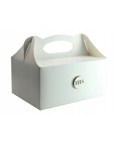 Pudełko na ciasto, Drewniany emblemat IHS Biały
