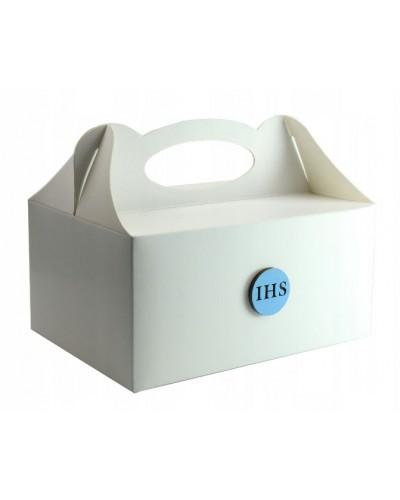Pudełko na ciasto, Drewniany emblemat IHS Niebieski