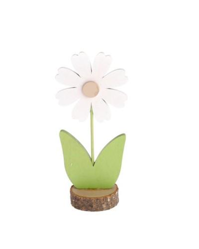 Drewniany kwiatek 11x5x3 cm Figurka zielono-biały