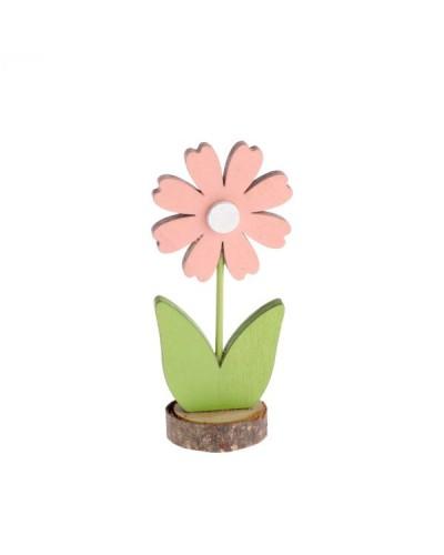 Drewniany kwiatek 16,5x7,5x5 cm Figurka Różowo-Zielona