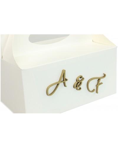 Pudełko na ciasto, Drewniane Inicjały w kolorze złotym - Twój Napis