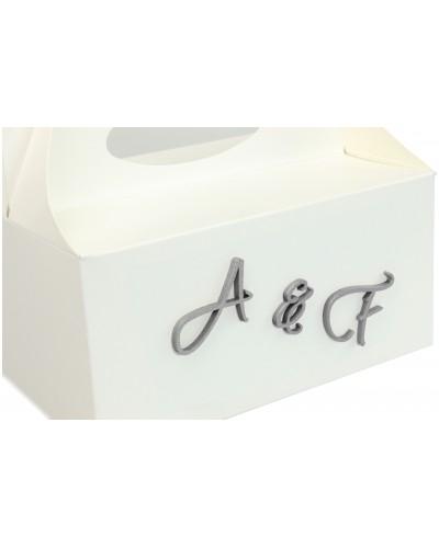 Pudełko na ciasto, Drewniane Inicjały w kolorze srebrnym - Twój Napis
