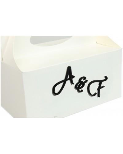 Pudełko na ciasto, Drewniane Inicjały w kolorze czarnym - Twój Napis