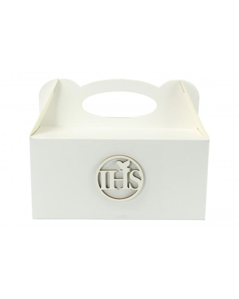 Pudełko na ciasto, Drewniany IHS Biały 5x5cm