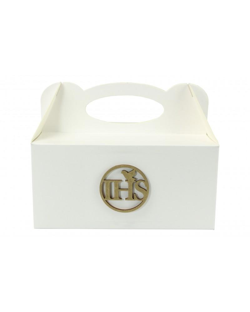 Pudełko na ciasto, Drewniany IHS Złoty 5x5cm