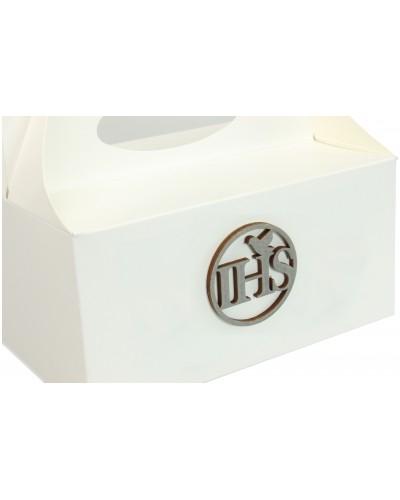Pudełko na ciasto, Drewniany IHS Srebrny 5x5cm