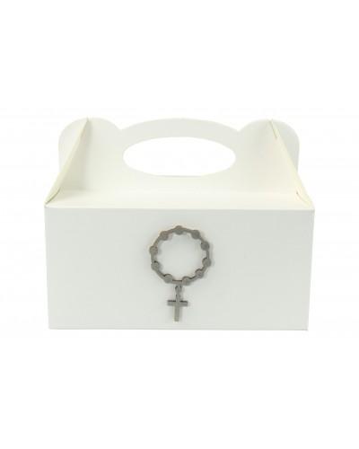Pudełko na ciasto, Drewniany Różaniec Srebrny 7x4cm
