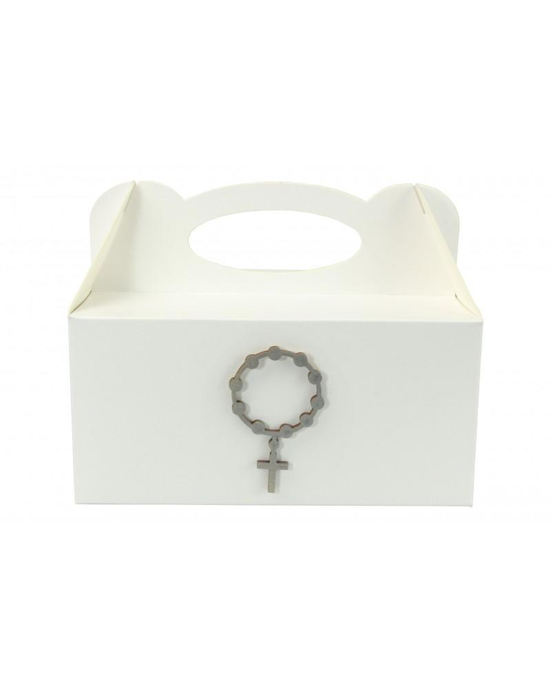 Pudełko na ciasto, Drewniany IHS Srebrny 7x4cm