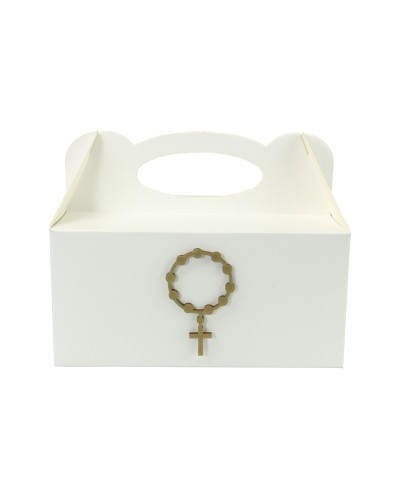 Pudełko na ciasto, Drewniany Różaniec Złoty 7x4cm