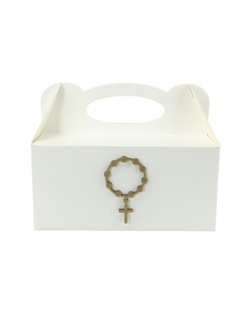 Pudełko na ciasto, Drewniany IHS Złoty 7x4cm
