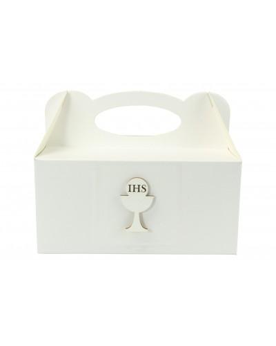 Pudełko na ciasto, Drewniany Kielich IHS Biały