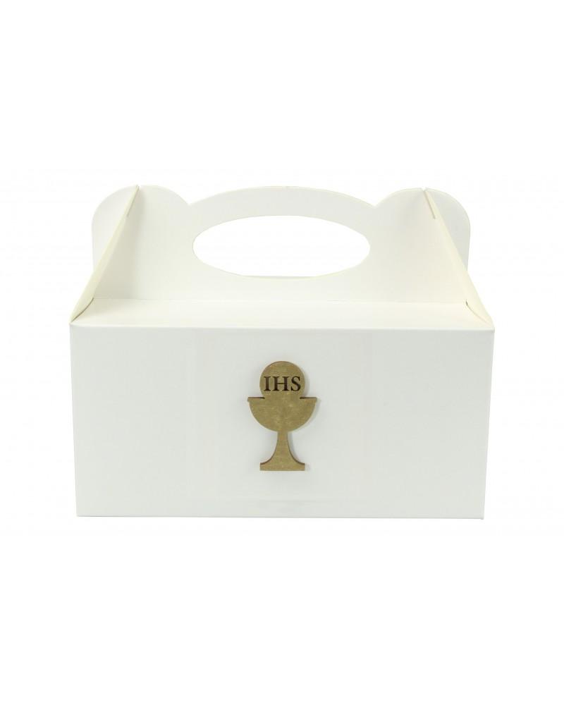 Pudełko na ciasto, Drewniany Kielich IHS Złoty