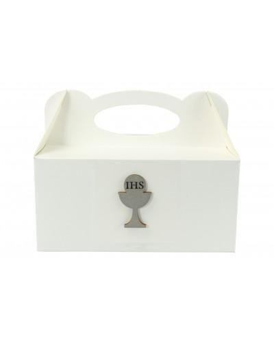 Pudełko na ciasto, Drewniany Kielich IHS Srebrny