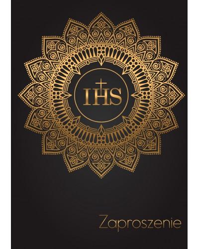 Zaproszenie Komunia Święta Czarne - Złote IHS