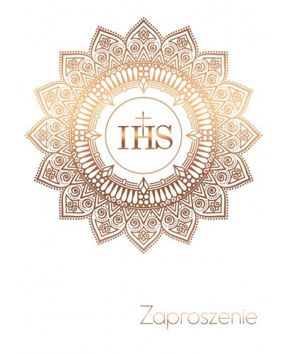 Zaproszenie na Komunię Świętą Białe - Rose Gold IHS