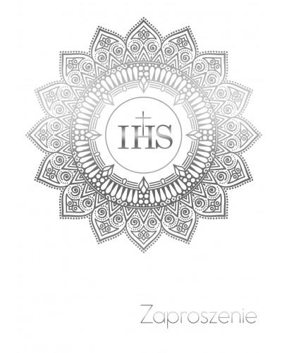 Zaproszenie Komunia Święta Białe - Srebrne IHS