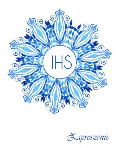 Zaproszenie na Komunię Świętą Niebieskie IHS