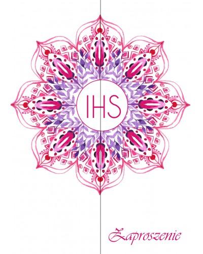Zaproszenie na Komunię Świętą Różowe IHS