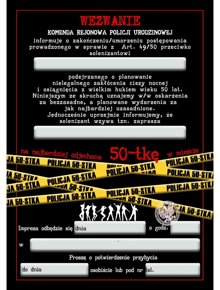 Zaproszenie Na 50 Tke Policja Zaporszenia Urodzinowe