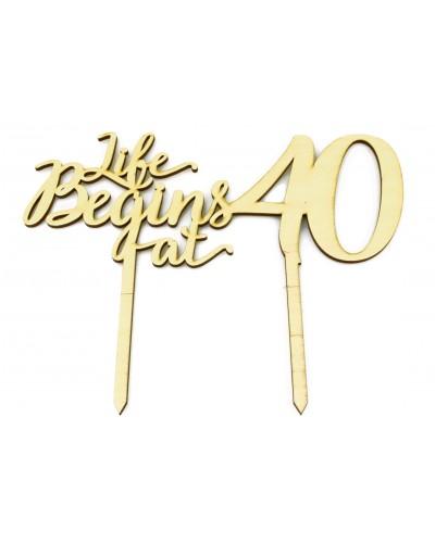 Topper na tort, 40 urodziny EKO, drewniany